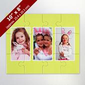 Custom 3 Photo Kid's Puzzle With Yellow Border