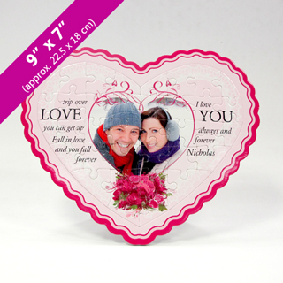 White Heart Shaped Personalized Photo Puzzle